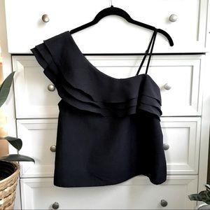 JOA Los Angeles One-Shoulder navy blouse